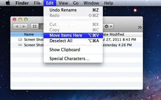 Функция «вырезать» в OS X Mavericks
