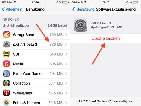 Как удалить обновление в iOS 7.1