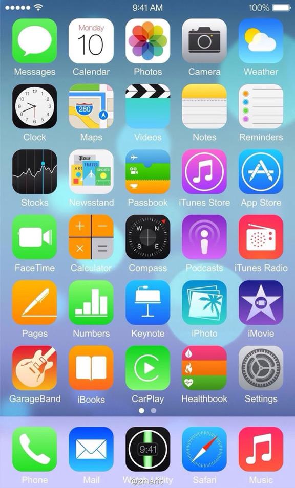 Скриншот главного экрана iPhone 6 c iOS 8