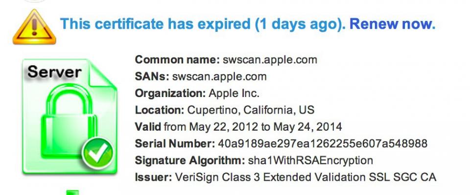 Apple просрочила SSL-сертификат