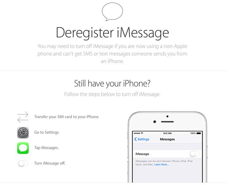Как отключить iMessage для телефонного номера